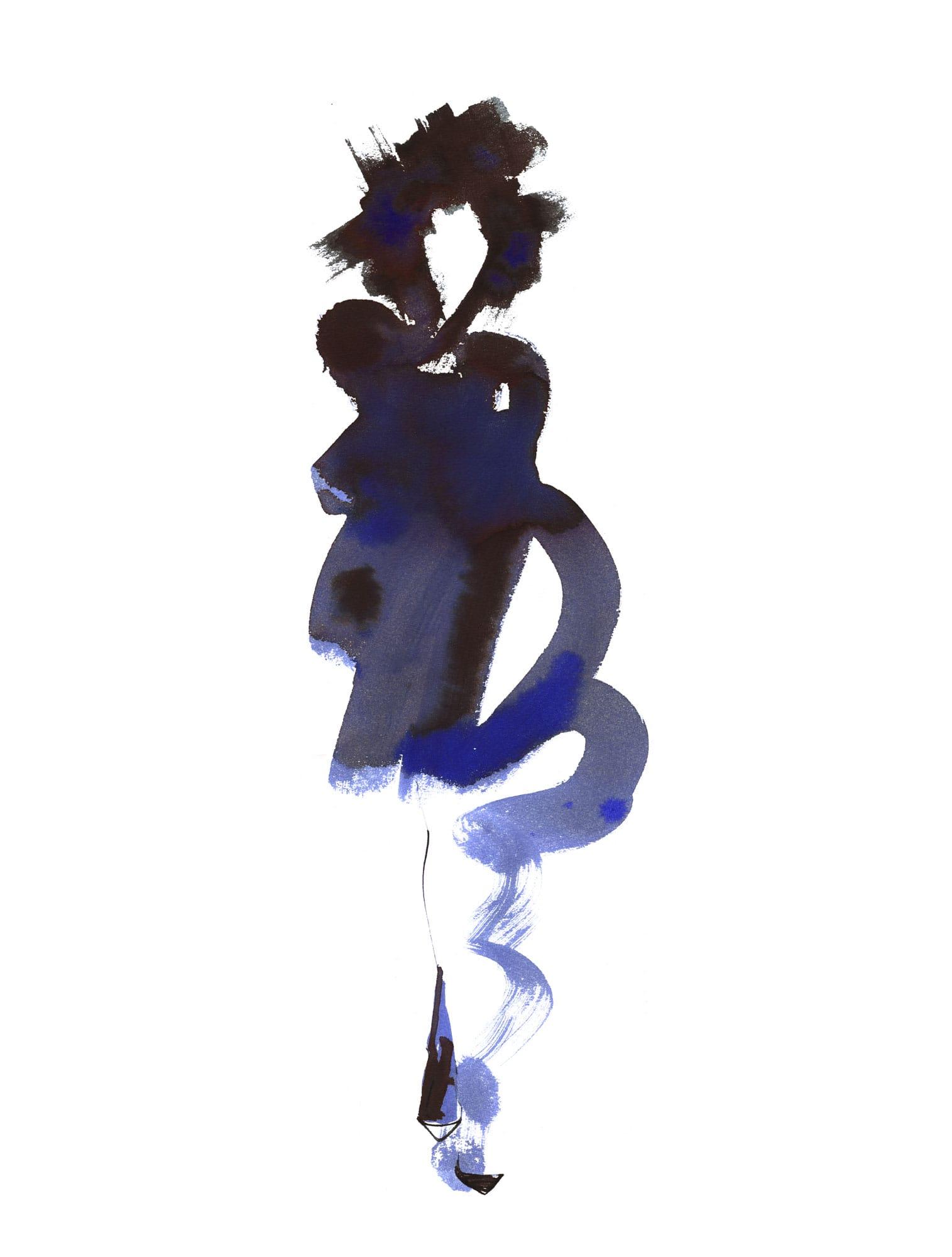 Lovisa Burfitt illustration Femme-noir-bleu