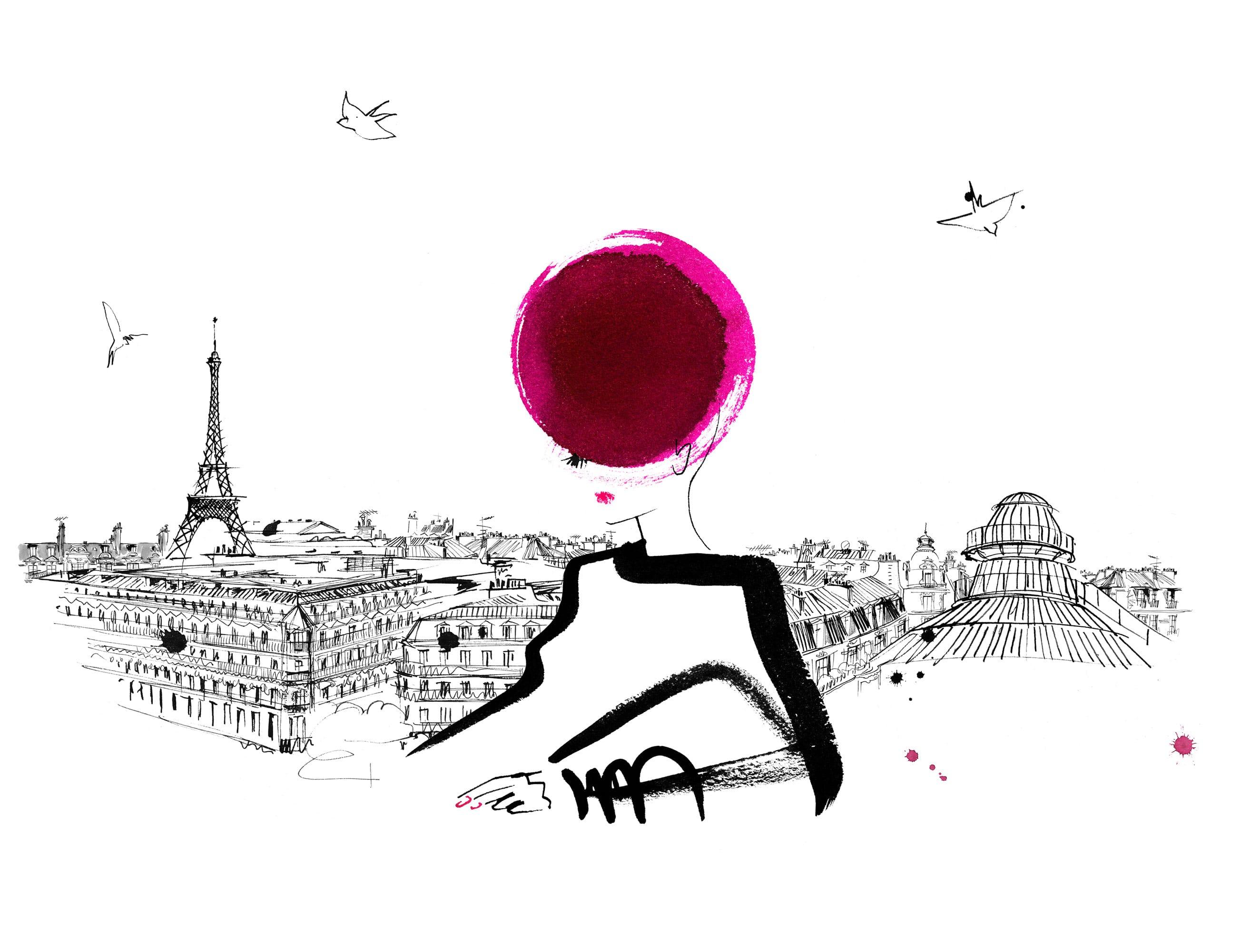 Lovisa-Burfitt-illustration-Galeries-Lafayette-femme-allongee