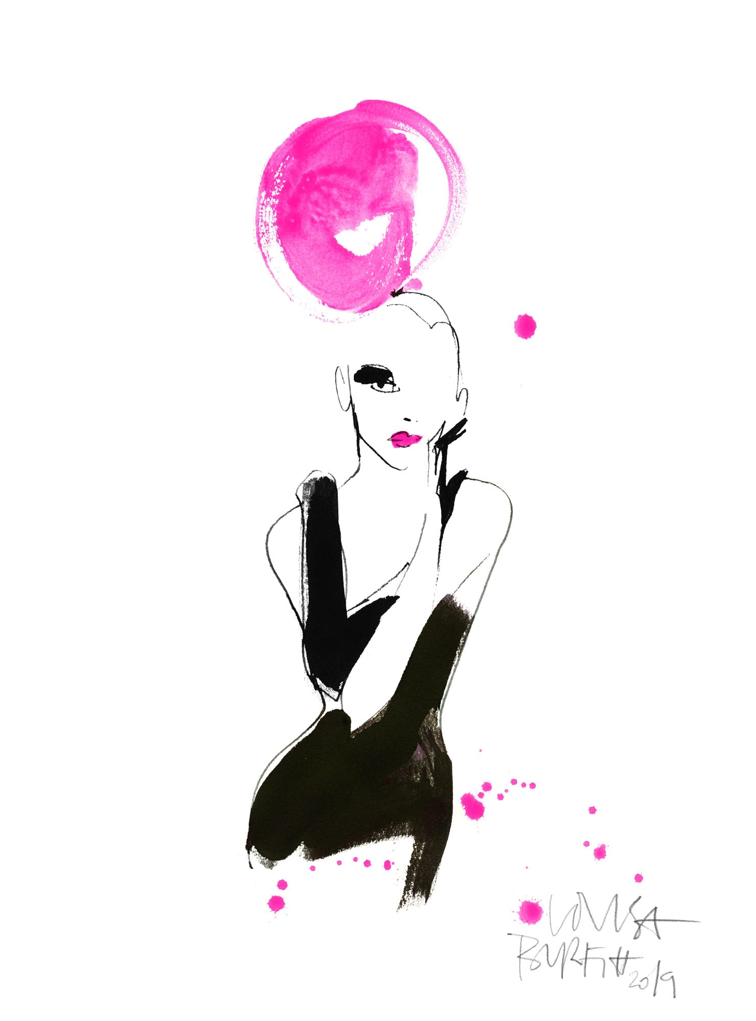 Lovisa Burfitt illustration Gant noir pompom pink