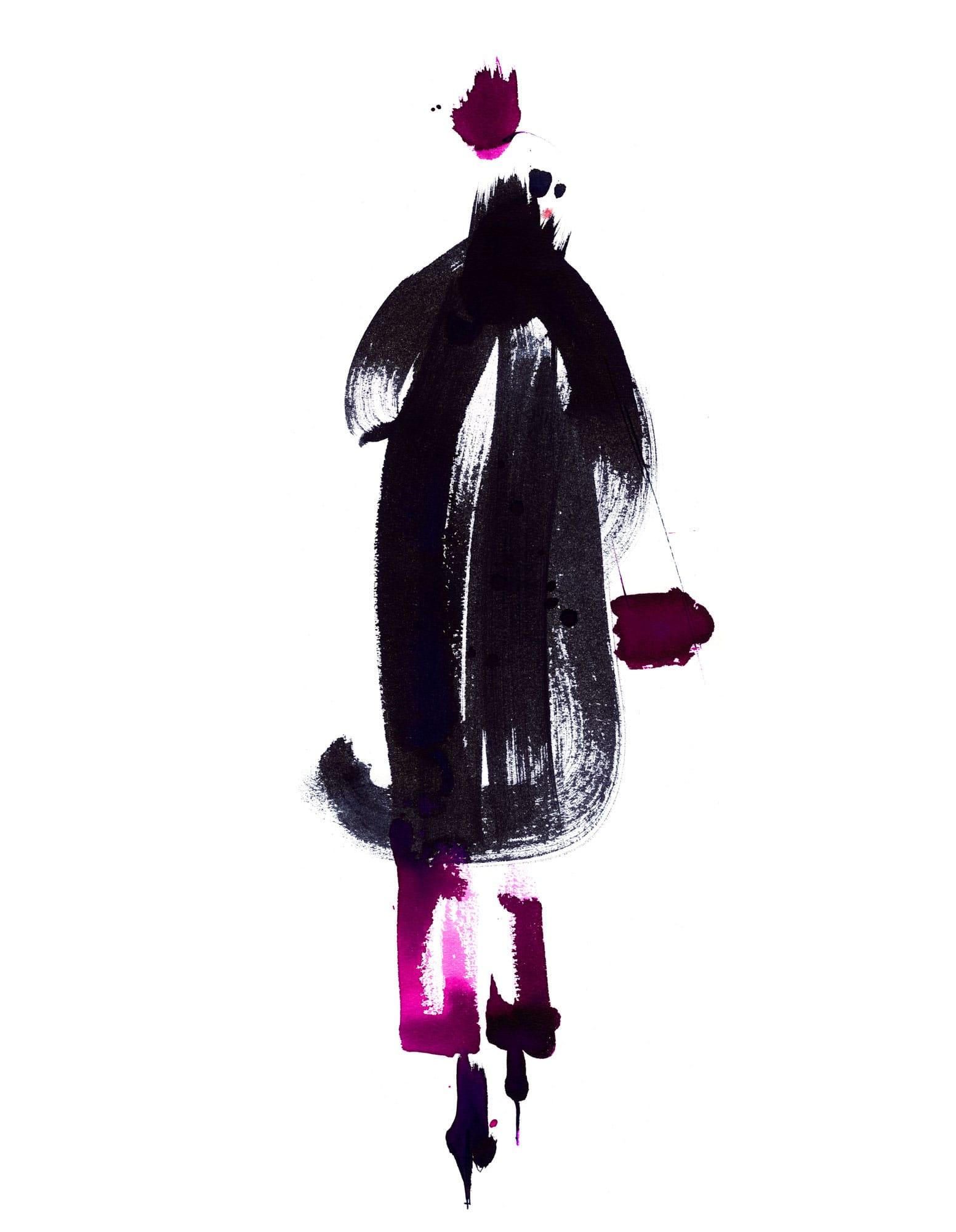 Lovisa Burfitt illustration femme-coat-handbag-