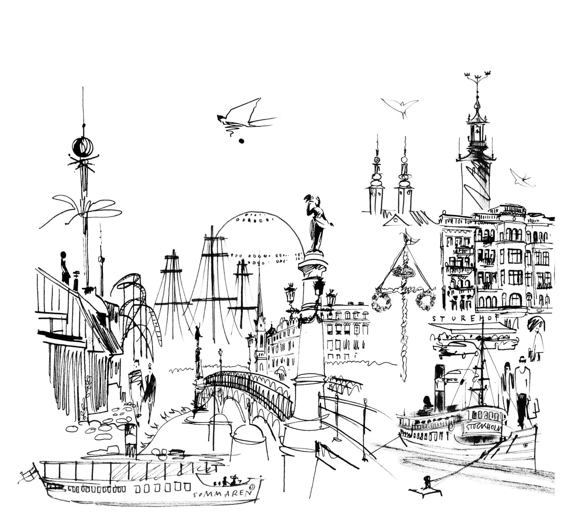 Lovisa Burfitt illustration Stockholm midsummer