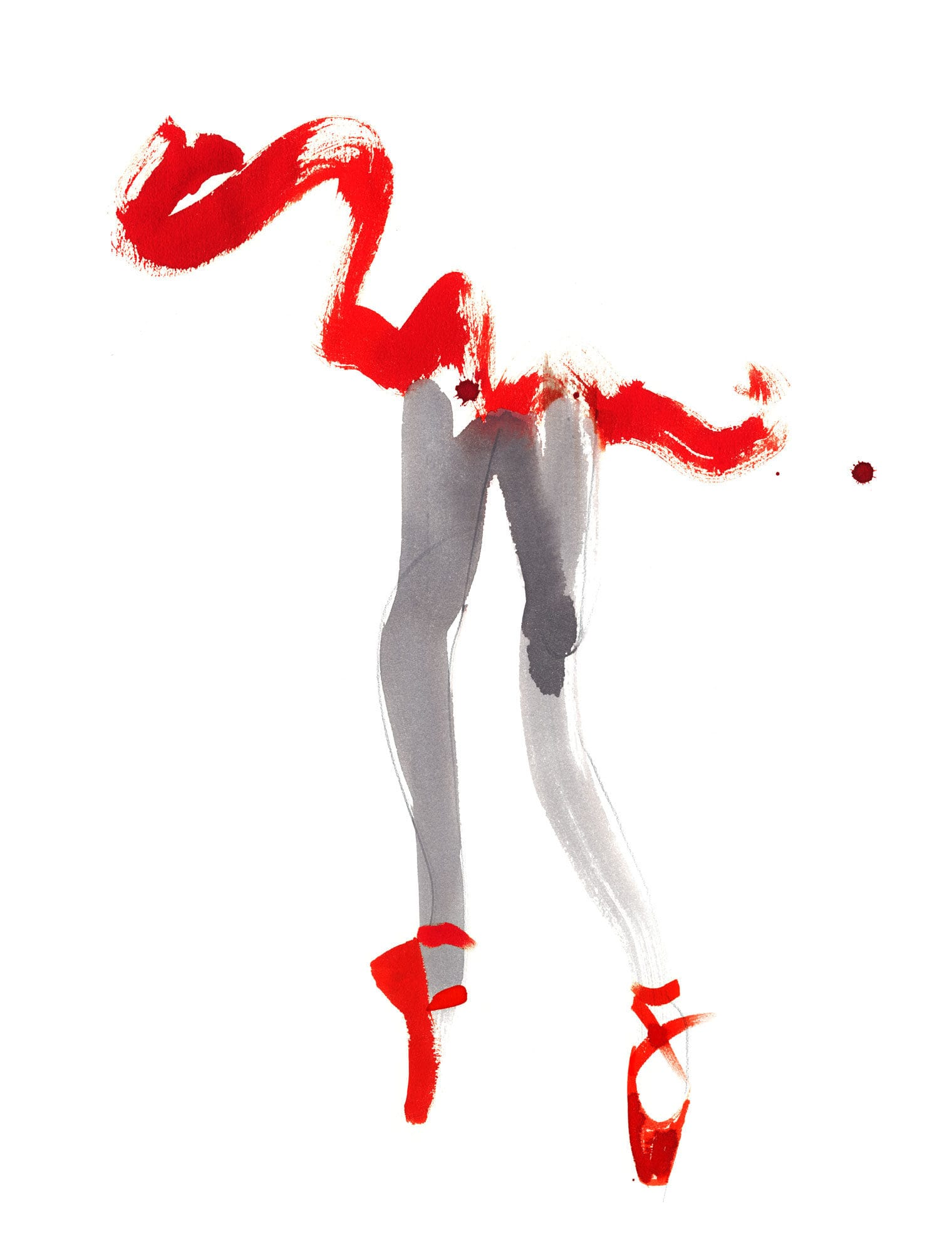 Lovisa Burfirtt illustration ballerina-prima-in-red