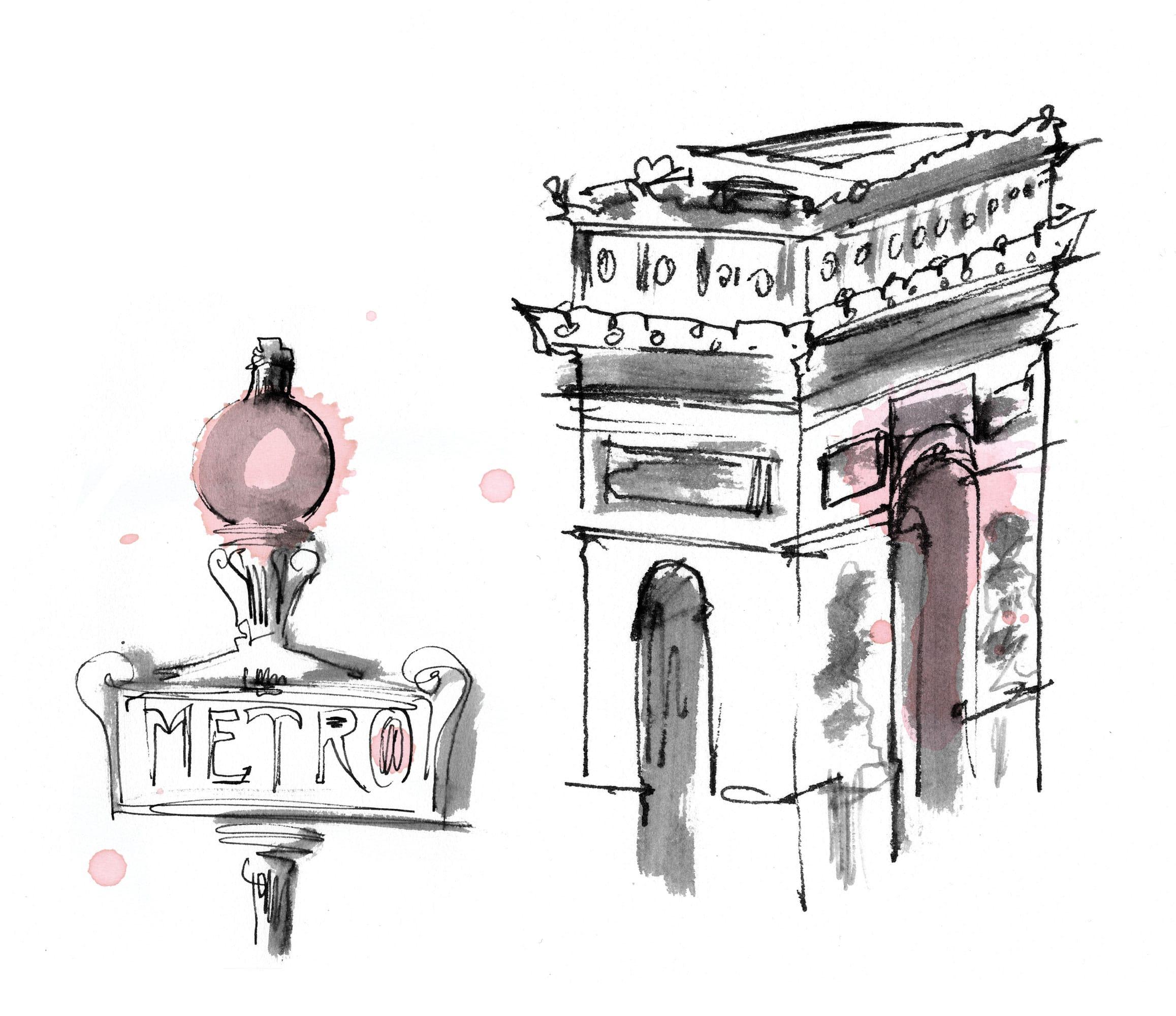 Lovisa Burfitt illustration Arc-de-triomphe-et-metro-