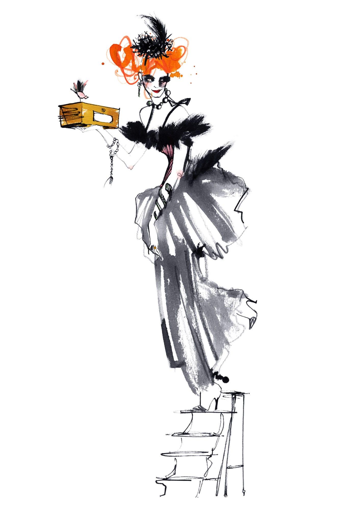 Lovisa Burfitt illustration Mademoiselle-O-drawer-room