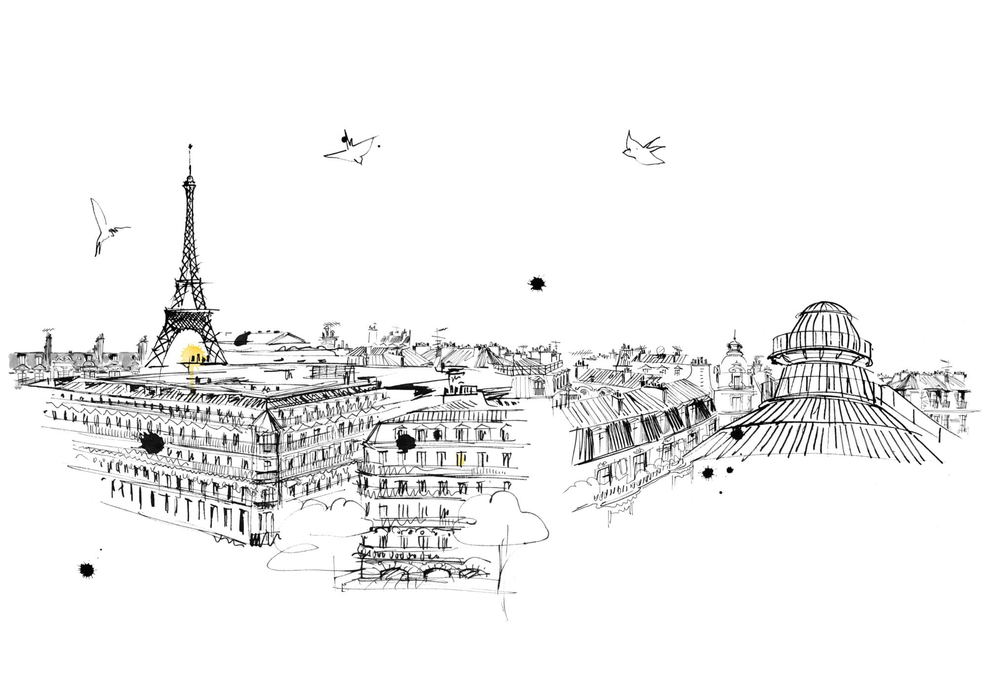 Lovisa-Burfitt-illustration-Paris-roof-tops-Galeries-Lafayette