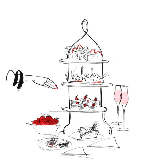 Lovisa Burfitt illustration Afternoon tea Rocco Forte