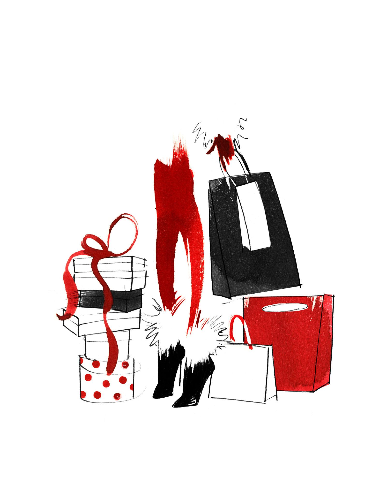 Lovisa Burfitt illustration Christmas-shopping
