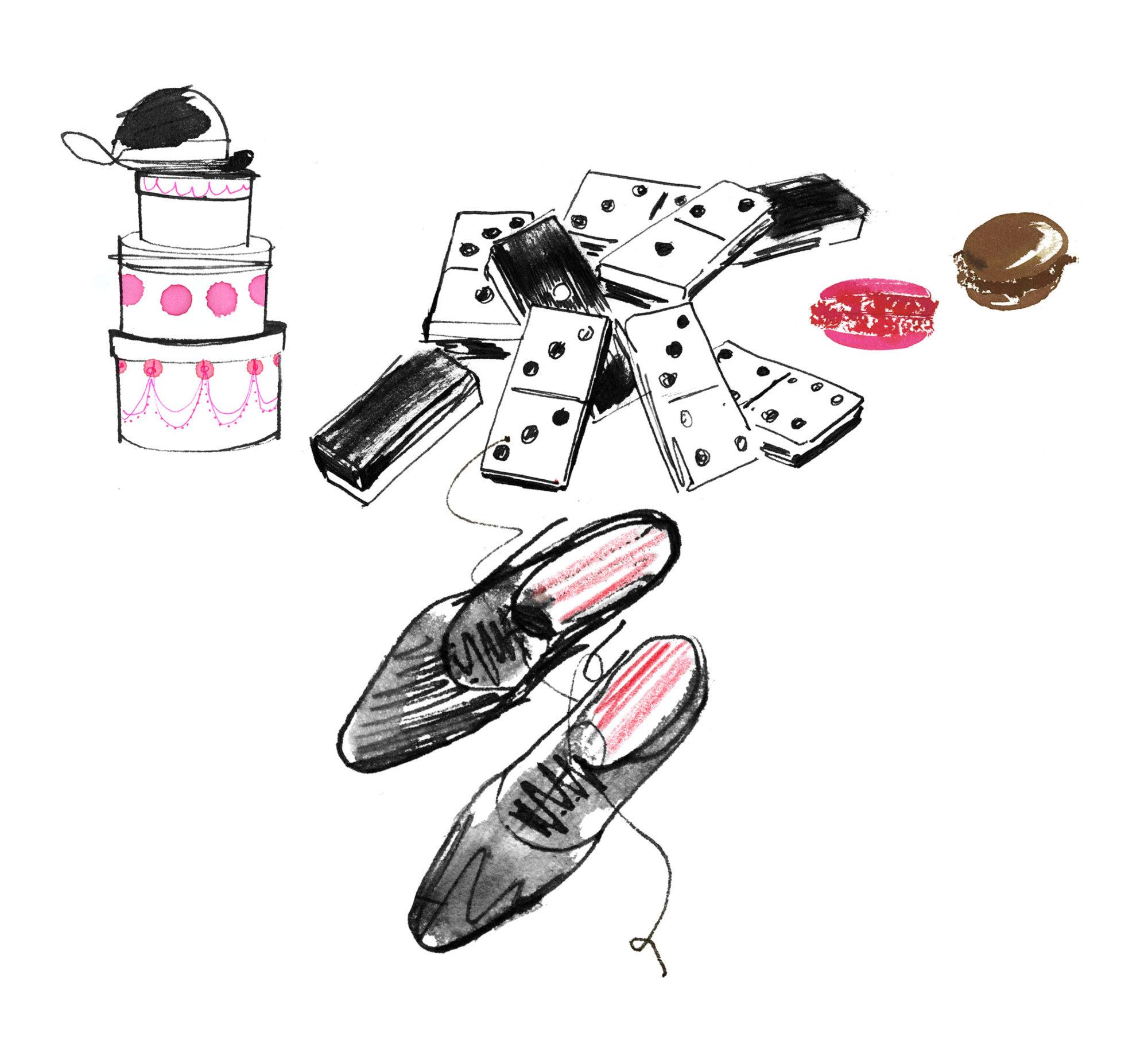 Lovisa Burfitt illustration Mens-shoes-macarons