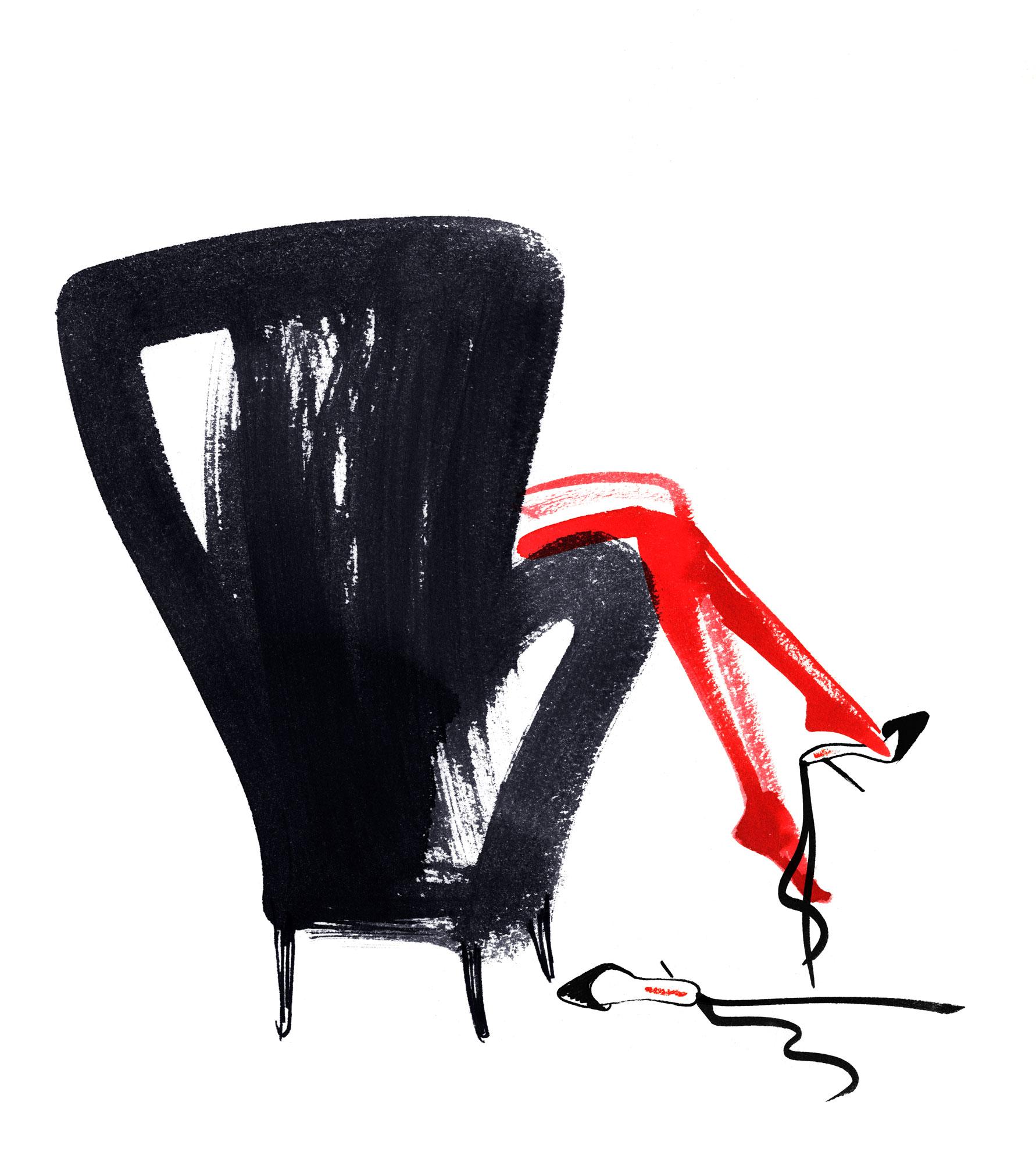 Lovisa Burfitt illustration Rocco Forte Black armchair