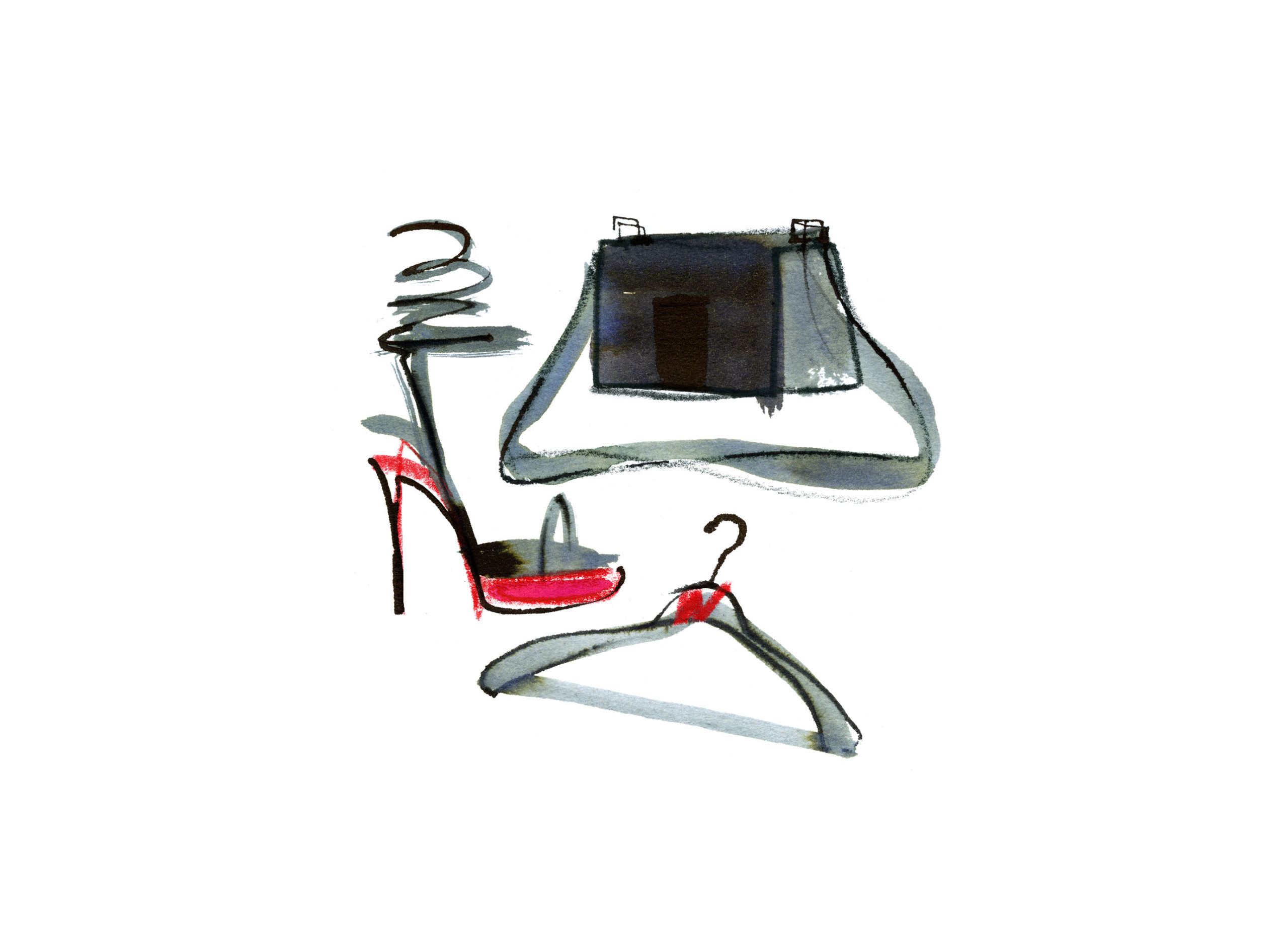 Lovisa-Burfitt-illustration-black-shoe-bag-red-details